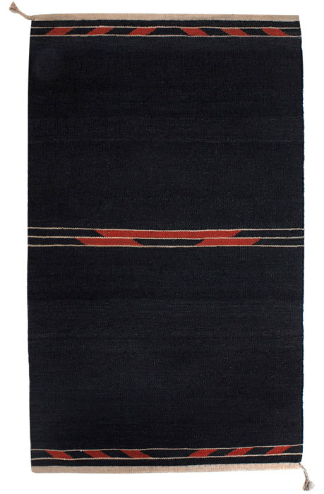 Tæppe kelim Klint sort rød